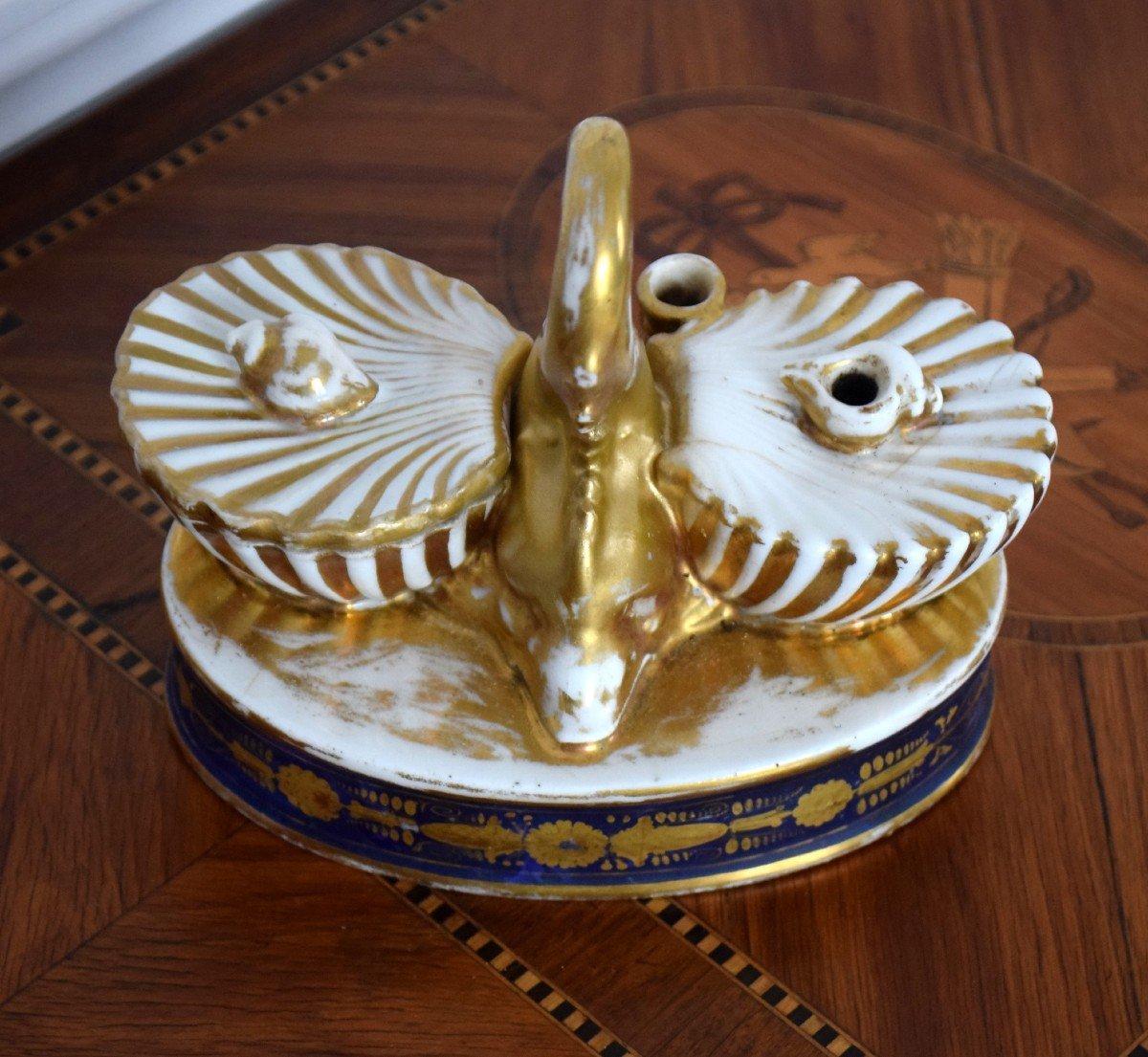 Encrier au dauphin Porcelaine de Paris Epoque Charles X-photo-5