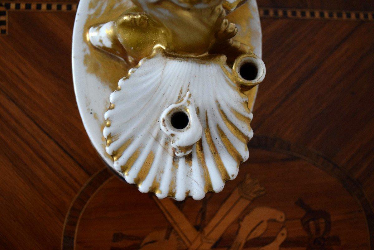 Encrier au dauphin Porcelaine de Paris Epoque Charles X-photo-7