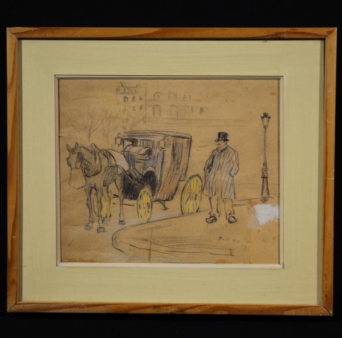 Drawing Pastel Check Fiacre De Paris 1910