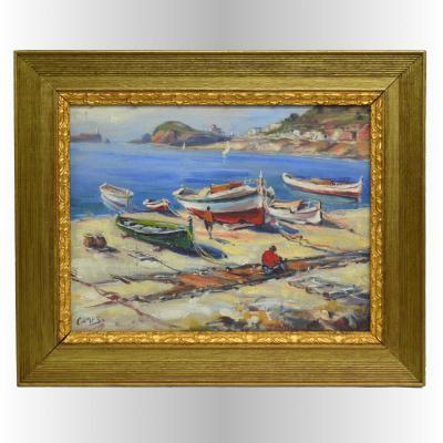 """Tableau """"Port de pêche en Espagne"""" Par José Camps Gordon"""