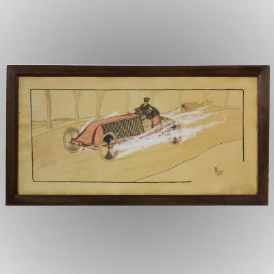 """Lithographie gouachée R.Turiault """"Renault Course Paris-Madrid"""" 1903"""
