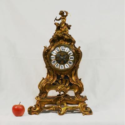 Grand Cartel Pendule De Style Louis XV En Bronze Doré