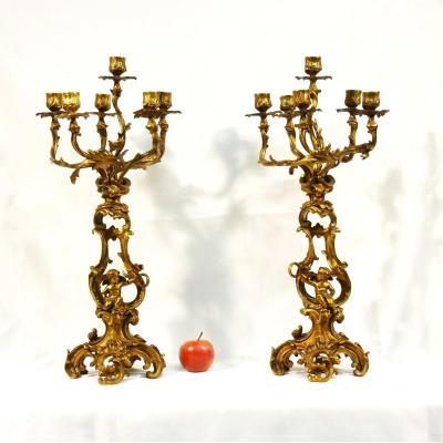 Grande paire de candélabres bronze doré style Louis XV Candelabres XIXème