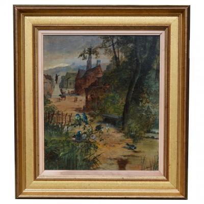 "Tableau ""village Animé"" Fin XIXème"