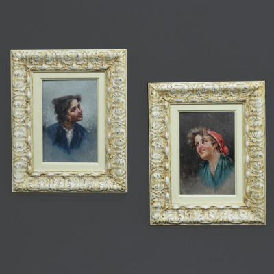 Paire De Portraits Gitanes Napolitaines