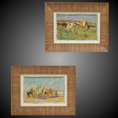 """Paire De Peintures Orientalistes """"Fantasia"""""""