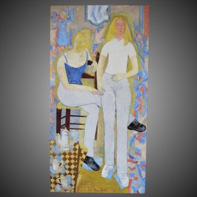 """Grande Peinture Post-cubiste """"les Deux Amies"""" 1949"""