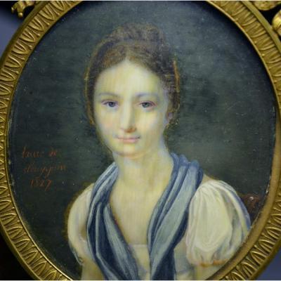 Miniature sur ivoire Laure de Seny Juin 1827
