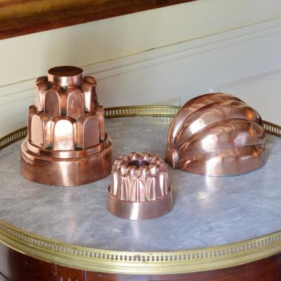 Trois Moules à Gâteaux en Cuivre XIXème