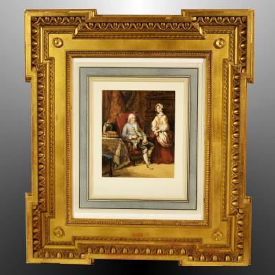 Aquarelle par Joseph Paul Martin (1799-?) Scène d'Intérieur