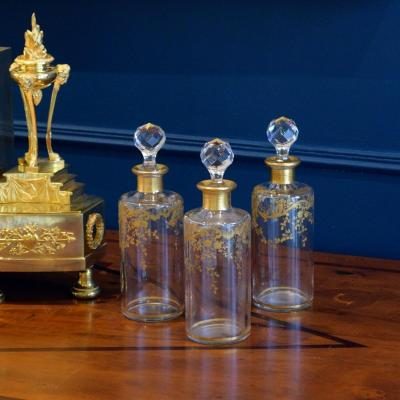 Three Baccarat Crystal Toilet Flasks