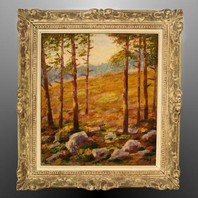 Paysage impressionniste Sous-bois de pins Signé