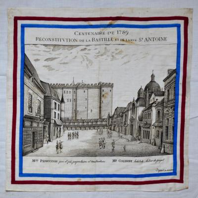 Handkerchief Centenary Of 1789 Reconstitution Of The Bastille And The Rue Saint-antoine
