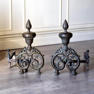 Pair Of Andirons And Bronze Nineteenth Iron