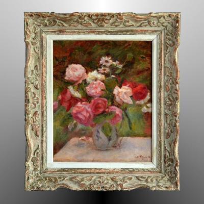 Lucien Mignon Bouquet de roses impressionniste 1930