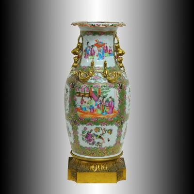 Grand Vase Porcelaine de Chine Canton et Bronze XIXè 52cm