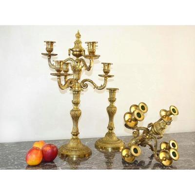 Pair Of Candelabra Candlesticks Louis XVI Style