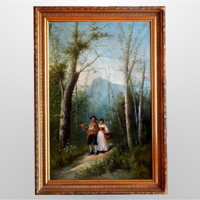 Grande peinture italienne XIXè Couple en forêt