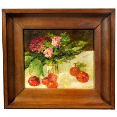 Nature morte aux Pommes et Bouquet de Fleurs par H.cousin
