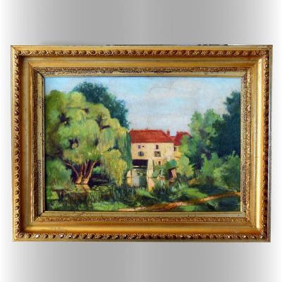 Nogent l'Artaud Vieux moulin Bord de Marne 1939 signé E.Larc