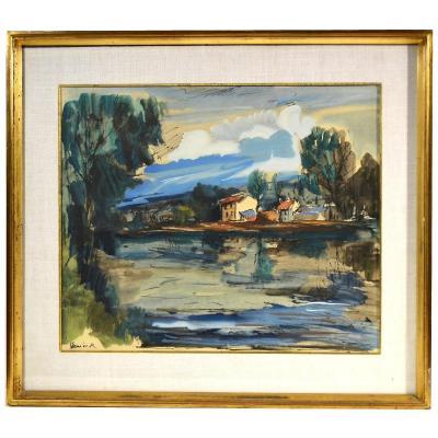 M. De Vlaminck Lithographie Originale Bords de l'Oise