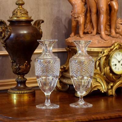 Paire de vases balustres cristal de Sèvres