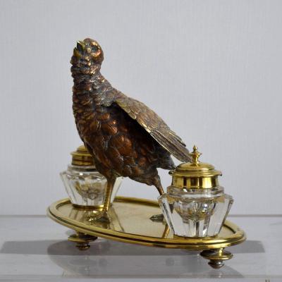 Encrier à la Perdrix en bronze cristal et laiton XIXè