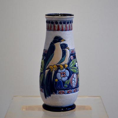 Vase Art Déco Amphora Czechoslovakia Tchécoslovaquie Faïence émaillée