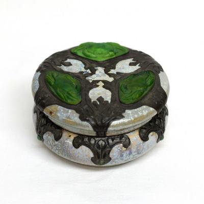 Boîte Art Nouveau Grès Etain Pâte de verre