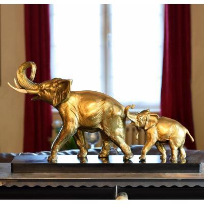 Eléphant et son petit par Irénée Rochard