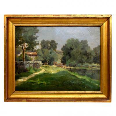 Paysage impressionniste par Victor wilfrid Pargon XIXè