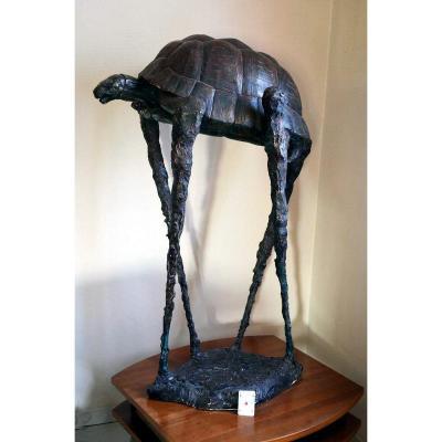 Grande Sculpture Tortue Signée Hans Marks 1994