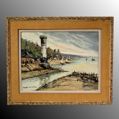 Honfleur Le vieux phare Lavoine LP Robert Aquarelle gouachée