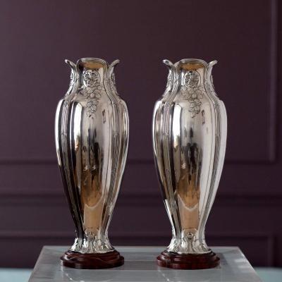 Pair Of Art Nouveau Vases Gallia Christofle Silver Metal