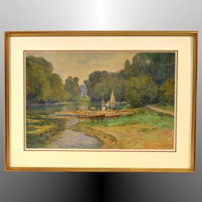 On The Banks Of The Oise, Auvers-sur-oise, By Achille Mohrien (1873-1945)