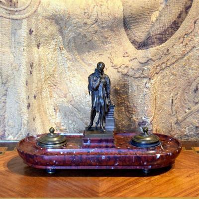 """Encrier Bronze Barbedienne """"Ambroise Paré"""" P.J.David d'Angers"""