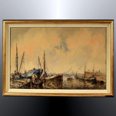 Willem Bos Aquarelle Bateaux de Pêche en Mer du Nord