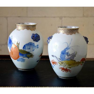 Pair Of Japanese Polychrome Porcelain Vases