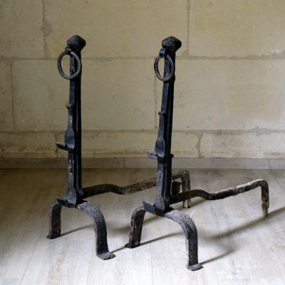 Large Pair Of Landiers, Andirons XVIIth Fern Decoration