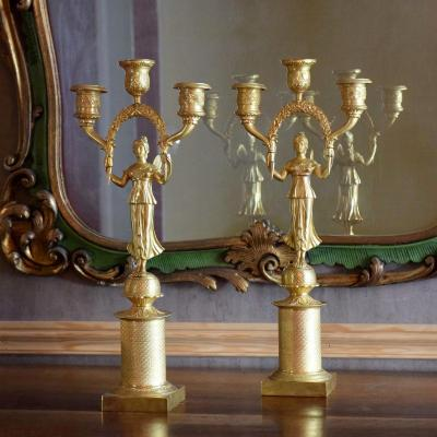 Pair Of Bronze Candelabra With Winged Victories Empire