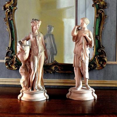 Paire de sculptures à l'Antique d'après Clodion XIXè