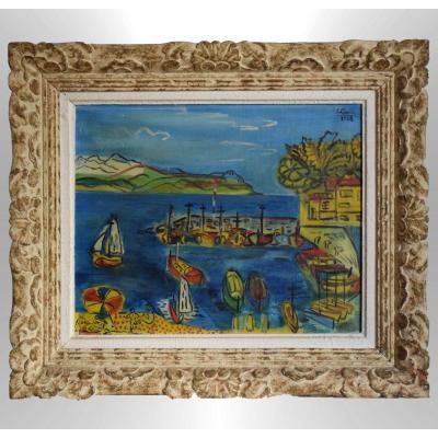Mediterranean Beach And Harbor By Jean Gerin 1956