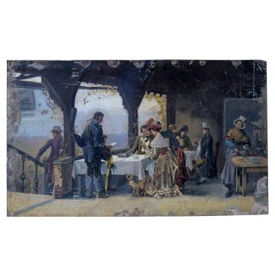 "Tavern on the covered terrace with characters. Note the sign decorated with fish designating the establishment ""A la Bonne Friture"". Oil on sheet metal pointed on a wooden frame. This painting which would require a restoration retains all its charm as it is. 48x80 cm."