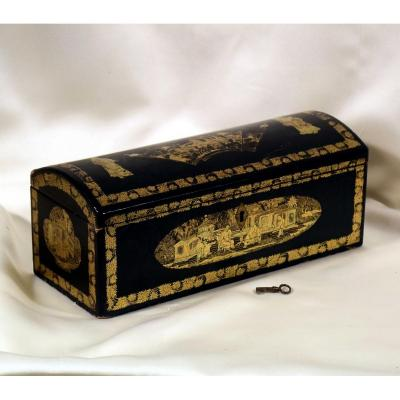 Glove Box Box In Lacquered Wood China XIXth