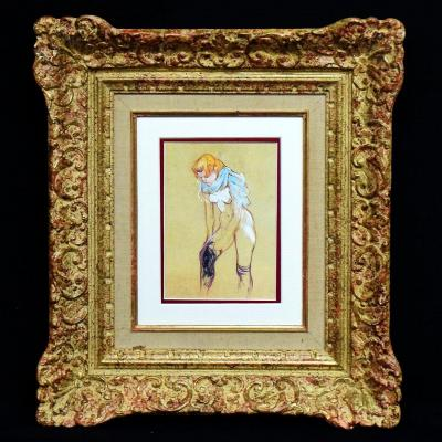 Engraving After Toulouse-lautrec Study For Woman Pulling On Her Stockings