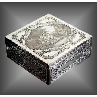 Coffret à bijoux en métal argenté capitonnée
