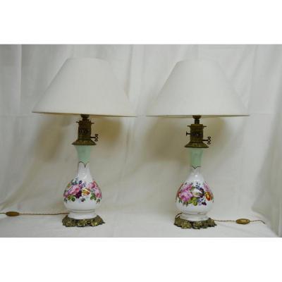 Paire De Lampes En Porcelaine De Paris XIXème