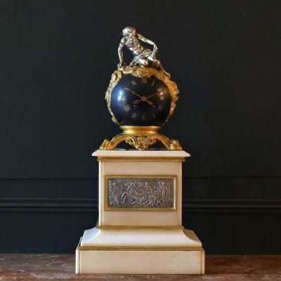 "Clock ""chronos"" Bronze And Marble XIXth"