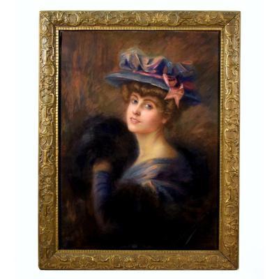 Large Impressionist Portrait Of An Elegant Circa 1900