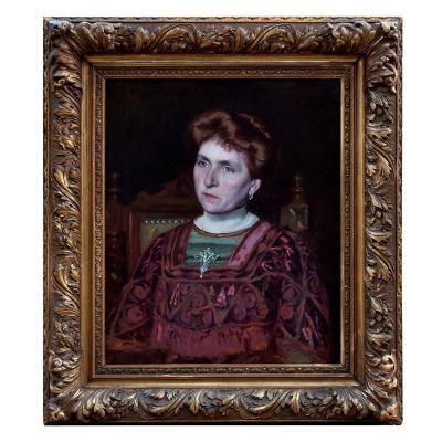 Large Art Nouveau Portrait By Félix Cambon